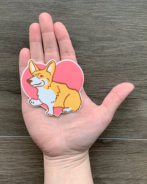 Corgi dog vinyl sticker by Bread and Badger