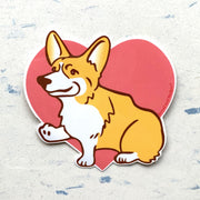 Corgi heart sticker by Bread and Badger