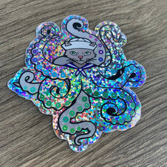 Octopus Cat sailor rainbow glitter vinyl decal