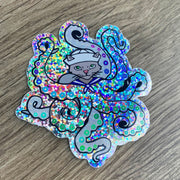 Octopus Cat rainbow glitter vinyl sticker