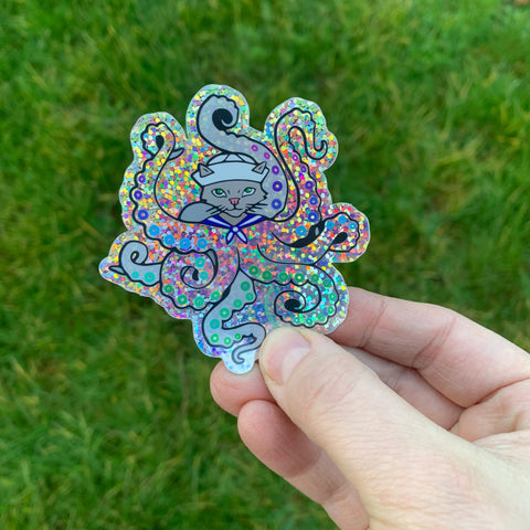 Octopus Cat Sticker - Rainbow Glitter