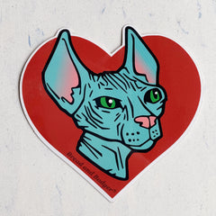 Hairless Sphynx Cat vinyl sticker by Bread and Badger