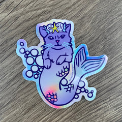 Mermaid Cat Sticker - Rainbow Holographic Outdoor Vinyl Decal