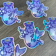 Mermaid Cat Sticker - Rainbow Holographic