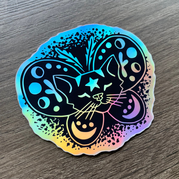 Moth Cat Sticker - Rainbow Holographic