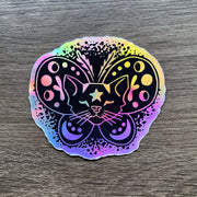 Moth Cat rainbow holographic vinyl sticker decal