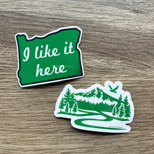 "Oregon state ""I like it here"" and Mt Hood stickers"