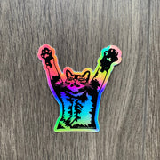 Stretch Cat Sticker - Rainbow Holographic