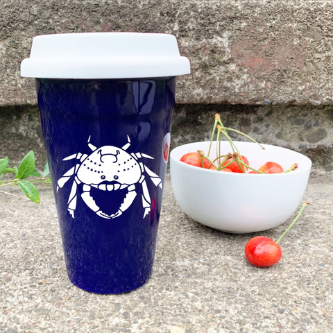 Dungeness Crab Travel Mug in navy blue by Bread and Badger