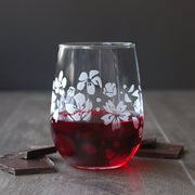 Cherry  blossoms engraved stemless wine glass