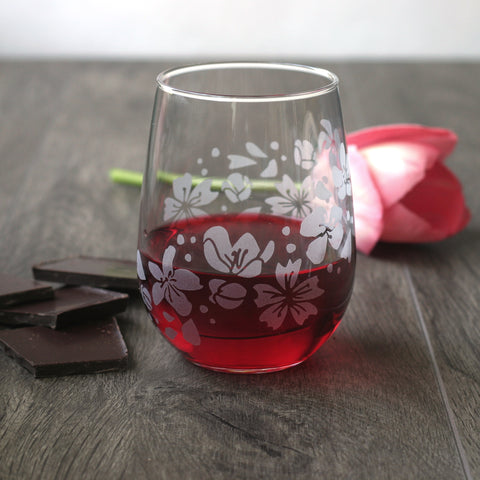 Cherry  blossoms engraved stemless wine glass with chocolate and pink tulip