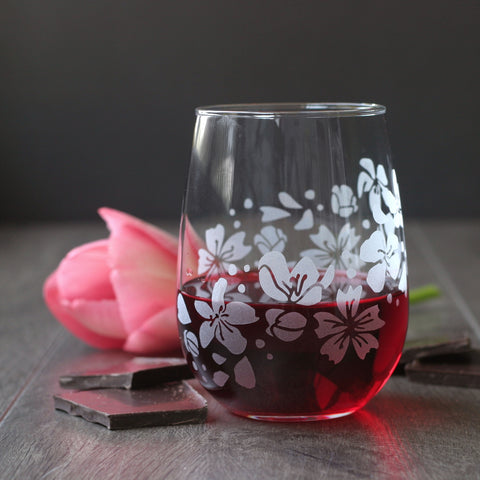 Stemless wine glass etched with cherry blossom flowers
