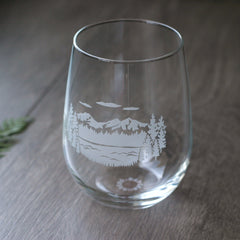 Three Sisters mountains stemless wine glass