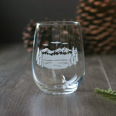 Three Sisters mountains and lake wine glass
