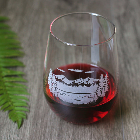 Three Sisters mountains and lake stemless wine glass