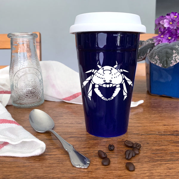 Crab Travel Mug in navy blue by Bread and Badger