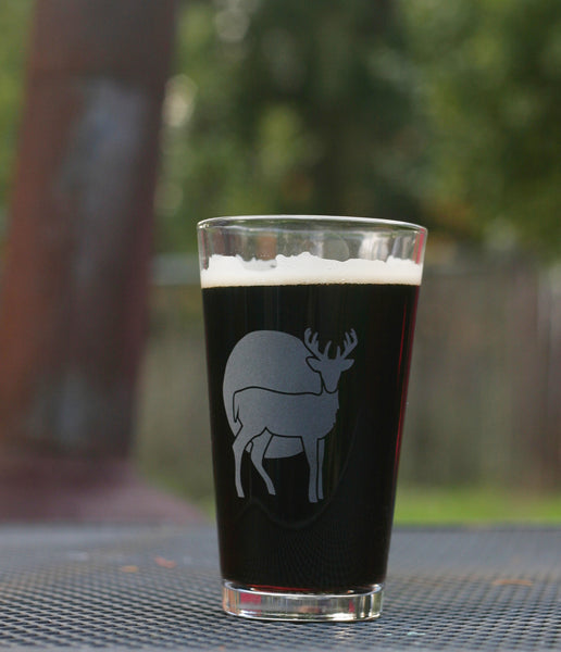 Engraved buck pint glass by Bread and Badger
