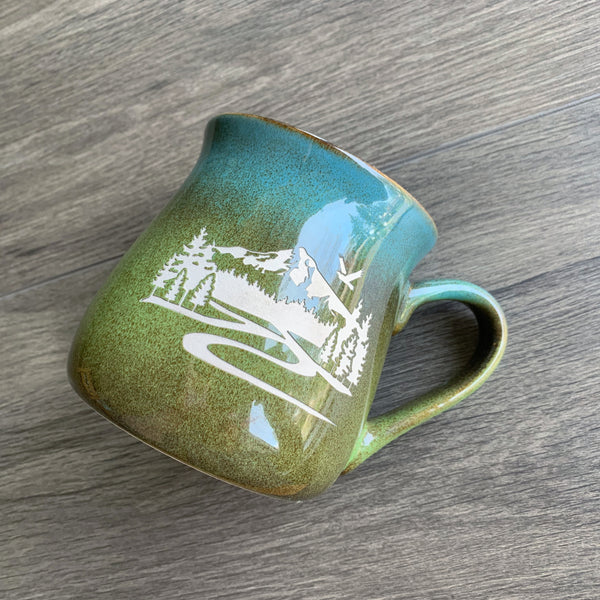 Mt Hood Meadow Green-Blue rustic mug