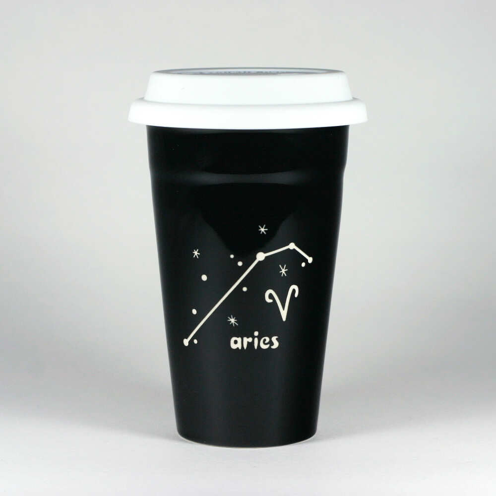 aries constellation travel mug, black, by Bread and Badger