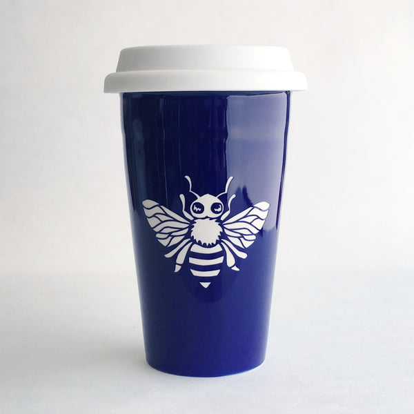 Navy Blue Bee Travel Mug by Bread and Badger