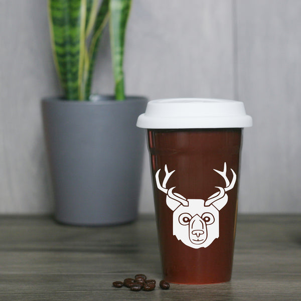 Bear with Antlers ceramic travel mug by Bread and Badger