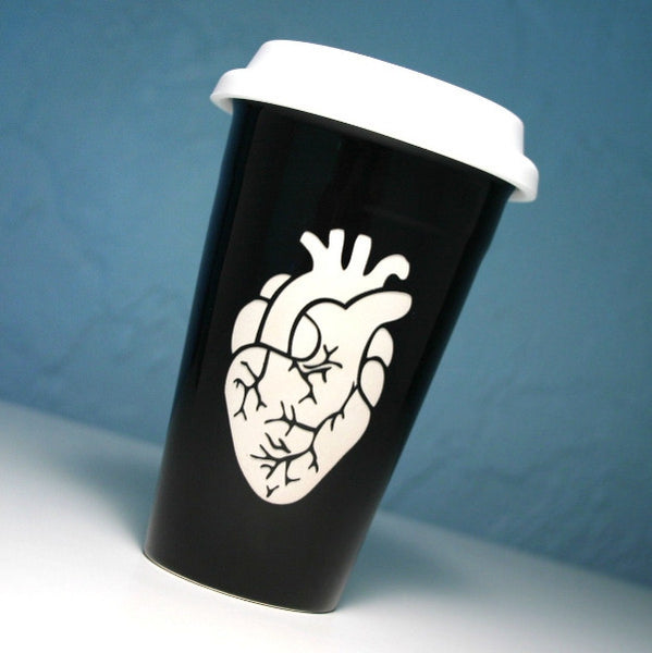 black anatomical heart travel mug