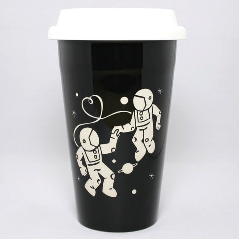Astronaut Love black travel mug