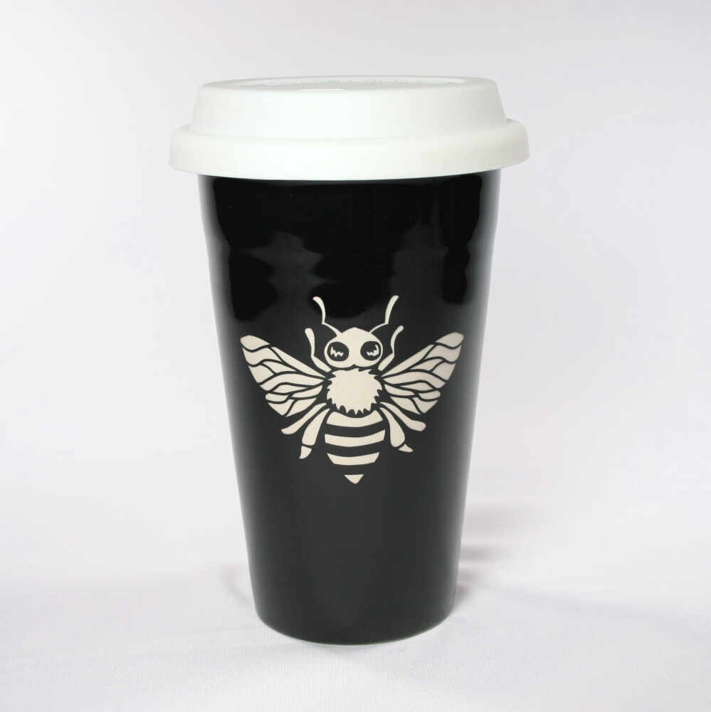 black honey bee travel mug
