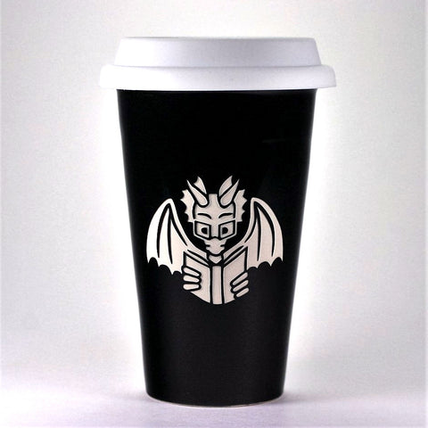 Reading Book Dragon travel mugs