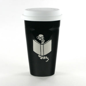 Bookworm black travel mug by Bread and Badger