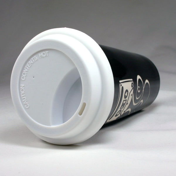 Mixtape Black Travel Mug with silicone lid