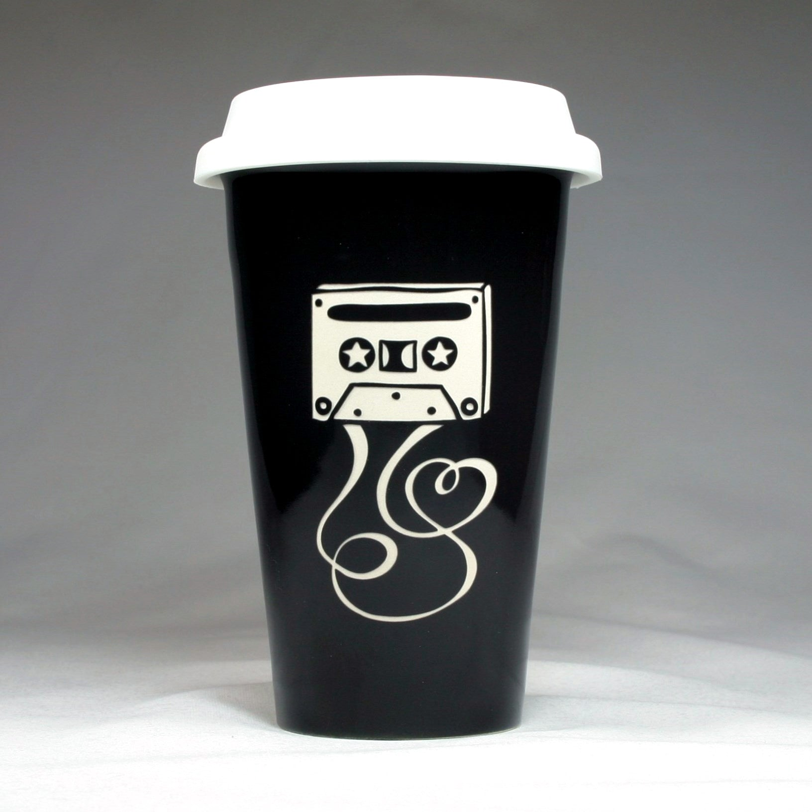 black ceramic cassette tape travel mug