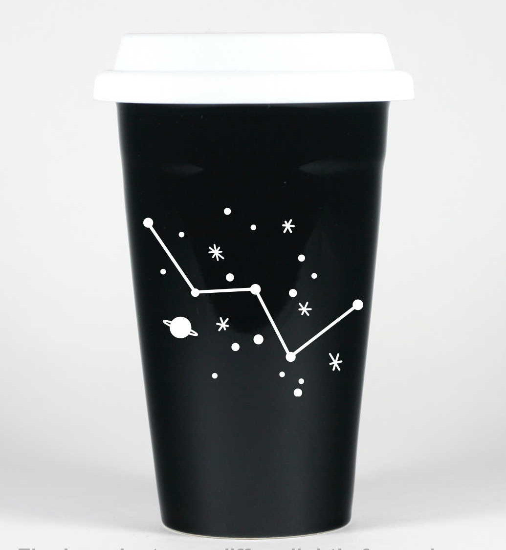 cassiopeia constellation travel mug, black, by Bread and Badger