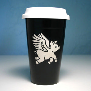 black flying pig travel mug