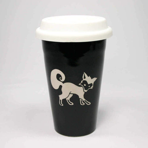 Fox Travel Mug with White Silicone Lid, Microwave-Safe, Dishwasher-safe