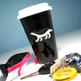 honey badger black ceramic travel mug