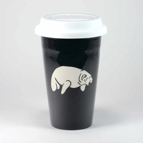 Manatee black travel mug by Bread and Badger