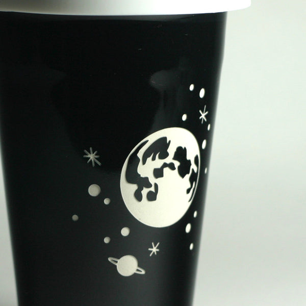 black ceramic full moon travel mug
