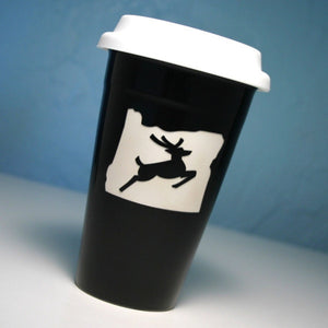 Oregon stag black travel cup