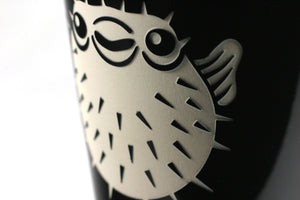 puffer porcupine fish travel mug detail, black