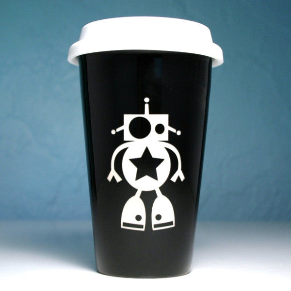 Robot reusable ceramic travel mug