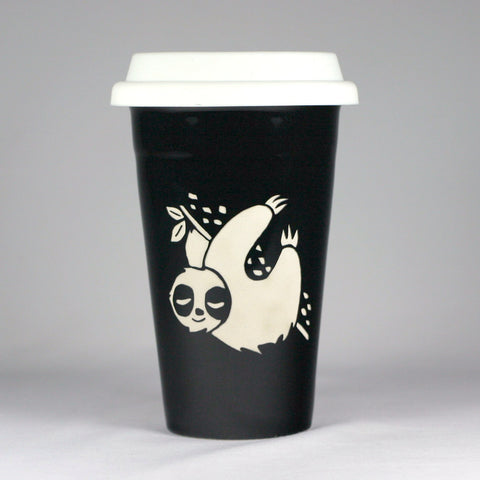 Sloth black travel mug