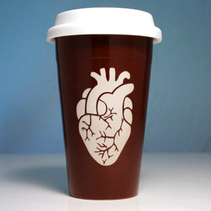 java brown heart travel mug