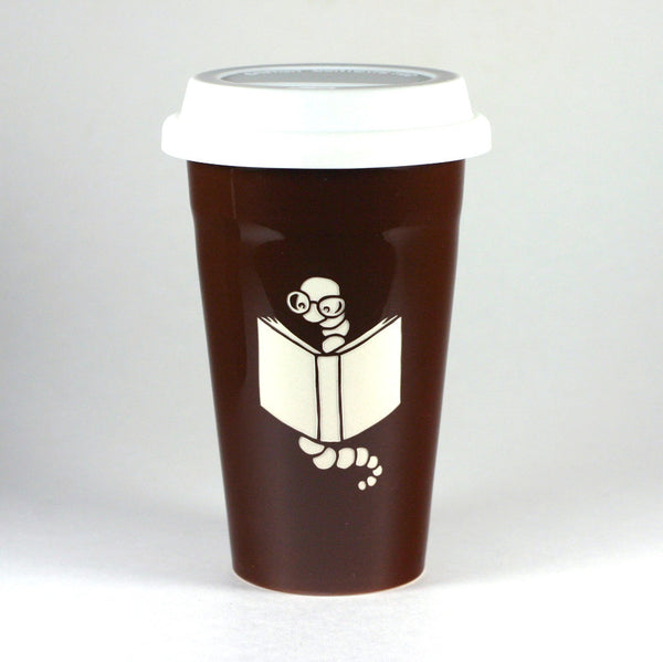 Bookworm brown travel mug by Bread and Badger