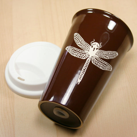 brown dragonfly travel mug