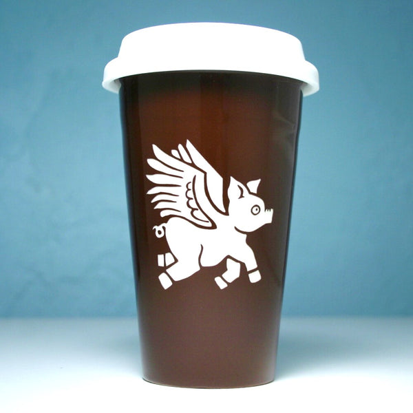 winged pig ceramic travel cup, java brown