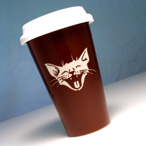 brown cat travel mug