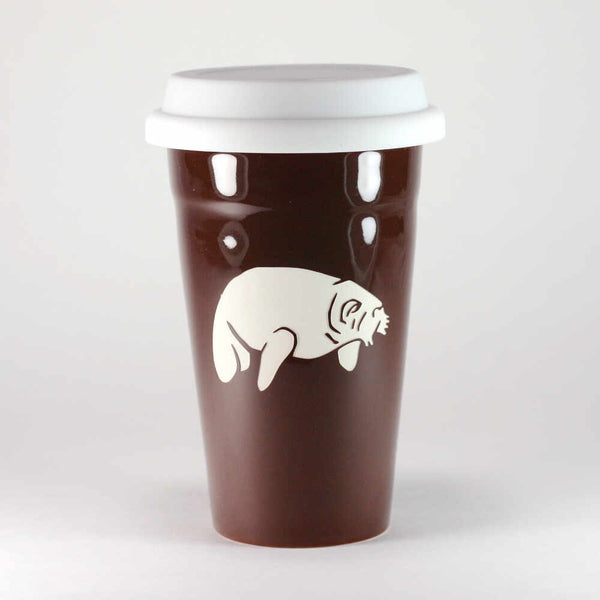 Manatee brown travel mug by Bread and Badger