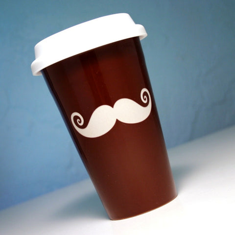 brown mustache ceramic travel mug