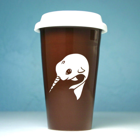brown narwhal travel mug